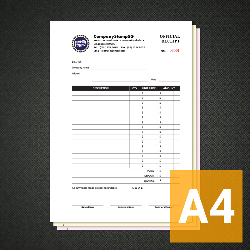 ncr receipt invoice book companystampsg